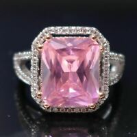 5 Ct Cushion Cut Pink Sapphire Moissanite Halo Ring 14K White Gold Plated Size 8
