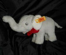 STEIFF 238246 TRAMPILI GREY BABY ELEPHANT RED BOW STUFFED ANIMAL PLUSH TOY SOFT