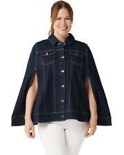 Du Jour Womens Button Front Denim Cape with Pockets 8 Dark Indigo A347554