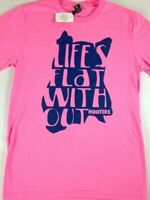 Life's Flat Without Hooters T-Shirt Mens SZ S/M Pink NEW Owl Funny Wings Beer
