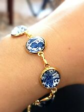 Beautiful White And Blue Porcelain Style  Flower Glass Bracelet Perfect Gift