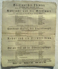 RARE 1832 ORIGINAL BRESLAUISCHES THEATER GERMANY BROADSIDE POSTER ADVERTISEMENT