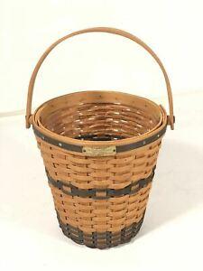 Longaberger Vintage Original 2000 Bankers Waste Basket JW Collection Made In USA
