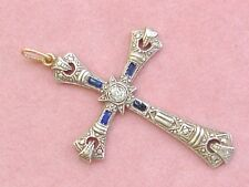 "ANTIQUE ART DECO DIAMOND SAPPHIRE PLATINUM RELIGIOUS 1-15/16"" CROSS PENDANT 1930"
