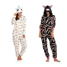 NEW Womens Fleece One Piece Pajamas Unicorn Pig Onesie Critter Hood S M L XL