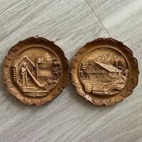 Two Swiss Wood Resin Carved Souvenir Plates Art Decor Chalet Alpine Horn