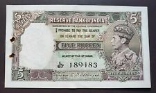 British India - 5 Rs - King George VI - KGVI -  C.D.Deshmukh - AUNC