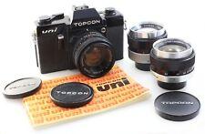 Topcon Uni 35mm SLR Camera, with Topcor 53mm f2, 35mm f3.5, 100mm f4 + Manual