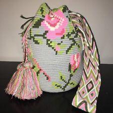 AUTHENTIC MOCHILA WAYUU LARGE SIZE HANDWOVEN CROSSBODY SHOULDER BAG Floral grey