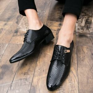 Men Formal Snake Pattern Dress Cuban Heels Pump Pointy Toe Lace Up Shoes Party