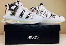 New Nike Air More Uptempo 720 QS 1 White Chrome Black BQ7668-100 Men's Size 10