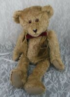 "Vintage 1988 Martha DeRaimo Teddy Bear Brown Mohair Jointed Vest Bow 18"" Stuffed"