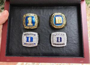 4pcs DUKE BLUE DEVILS KRZYZEWSKI National TEAM Ring Set With Wooden Box Fan Gift