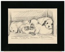 More details for sleeping sealyham terrier pups old 1937 dog art print by lucy dawson mac matted