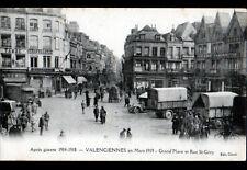 VALENCIENNES (59) CAMIONS MILITAIRES aux COMMERCES CHAPELERIE CAFFIAUX en 1919