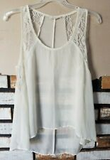 forever 21 womens sheer lace trim tank top size s hi-low