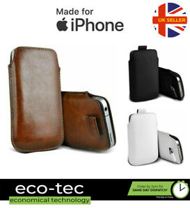 Soft Faux Leather Pouch Case with Pull Tab for Apple iPhone 13 12 11 XS XR X 8 7