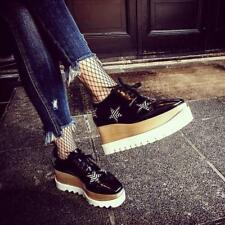 Stella McCartney Black Star Elyse Platform Brogues Shoes 39 UK6 New