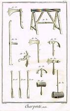 "Diderot Enclyclopedie  CHARPENTE pl. L"" (CARPENTRY TOOLS)   Engraving  1751-72"