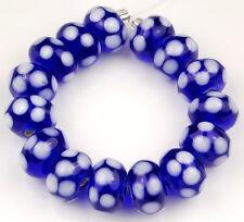 15 PCS Lampwork Glass Beads Handmade Cobalt Blue White Polka Dot Rondelle Spacer