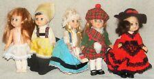 "5 Vintage New Bright Ginny Clone Dolls Clothes 7"" International Scotland Spain"