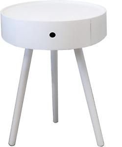 Anika Round Bedside/End/Lamp Table With One Drawer,White