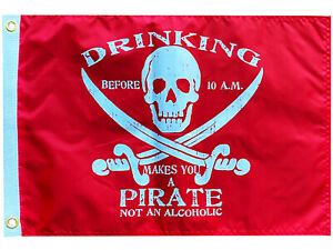Flappin' Flags Drinking Before 10 am Pirate Outdoor Garden Flag - 12 x 18 in