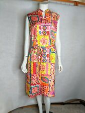 Sixties Silk Dress 14 Neon Mod Belted Buttoned Sides Sleeveless Colony Classics