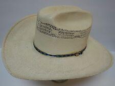 eab0d3cd5f7 Vintage HECHO EN MEXICO RODEO Straw Western BANDORA Cowboy Hat Size 7 1 8 57