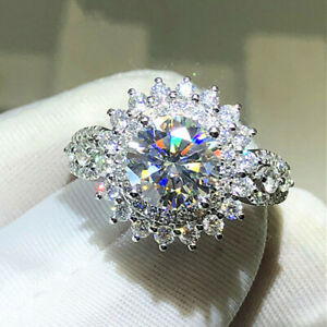 Gorgeous Women Jewelry 925 Silver Rings White Sapphire Wedding Gift Size 5-10