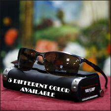Men's Khan Sport Sunglasses Fashion Semi-Rimless Stylish Biker Brown Gun Metal