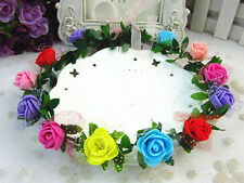 Boho Flower Crown Headband Garland Floral Hairband Festival Wedding Accessories