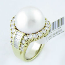 NYJEWEL 14k Gold Amazing Huge South Sea Pearl 3ct Diamond Cocktail Ring