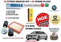 FOR AUDI A5 3.2 06/2007 SERVICE KIT OIL AIR POLLEN FILTER SET+ 6X SPARK PLUG SET