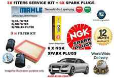 FOR AUDI A5 3.2 06/2007 SERVICE KIT OIL AIR POLLEN FILTER SET+ 6X SPARK PLUG SET