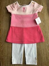 NWT Juicy Couture Baby Girls Pink Leggings Set Of Two , Size 12/18 M