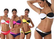 Bikini donna balconcino costume da bagno mare bicolor ferretto due pezzi nuovo