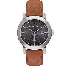 Burberry Men's The City Swiss Made Black Dial Brown Leather 42mm Watch BU9905