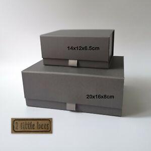 GIFT BOX Grey Magnetic Luxury Birthday Hard Craft Boxes Wedding Celebration  UK