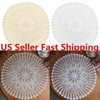 55cm Vintage Round Cotton Hand Crocheted Lace Floral Doilies Tablecloth