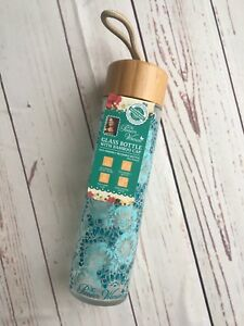 The Pioneer Woman Glass Water Bottle Teal Floral 20 oz Bamboo Lid NEW