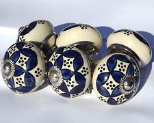 6 x Cream round knobs with Blue pattern and dots drawer door pulls (chrome)