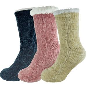 Ladies Chenille Slipper Socks Warm Fluffy Soft Fuzzy Winter Knit Fleece Lined