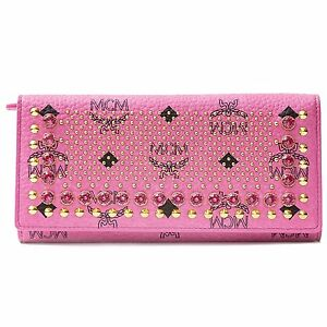 MCM Pink Stud Wallet Authentic New Leather Munich Snap Gold Swarovski Gold Zip