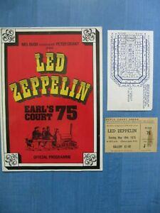 LED ZEPPELIN 1975 EARL'S COURT PROGRAMME & Ticket & Articles