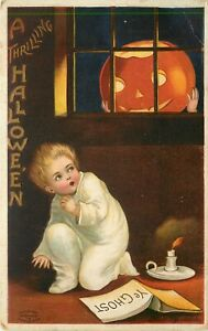 Embossed Halloween Postcard 978 Boy reads Ghost Story Scared by Jack o Lantern
