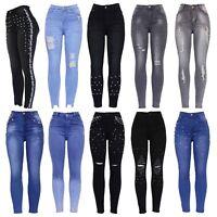 Womens High Waist Pearl Embellished Ripped Distressed Ladies Skinny Denim Jeans