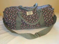 """Sloane Ranger Grey Pink Flowers Weekender Duffel Bag Tote 21"""""""