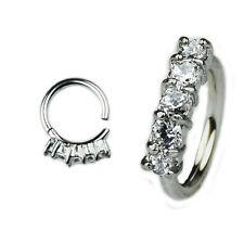 1,2mm Silber Ohr Piercing Helix Clicker 5 Kristallen Segment Ring Scharnier