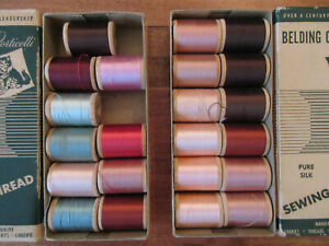2 VINTAGE BOXES BELDING CORTICELLI SILK THREAD SEWING LOT